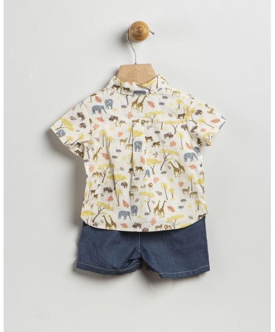 Conjunto Camisa Animales y Pantalon Tejano